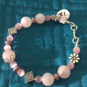 Jewelry - Pastel pink gemstone bracelet with lobster clasp